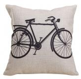 Claybox Decorative 18 x 18 Inch Linen Cloth Pillow Cover Cushion Case, Bicycle